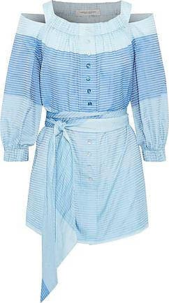 Carolina Herrera Carolina Herrera Woman Cold-shoulder Belted Striped Cotton-gauze Tunic Sky Blue Size 6