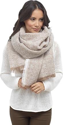 Foxbury Ladies Herringbone Weave Blanket Scarf One Size Brown