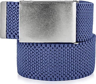 Decalen Mens Nylon Belt with Metal Automatic Buckle Canvas Breathable Men Waist Belt (Blue 1)