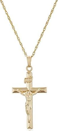 d22ef9db659 Amazon Collection Mens 14k Gold Filled Solid Beveled Edge Embossed Crucifix  Cross with Gold Plated Stainless