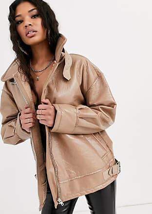 Missguided vinyl aviator jacket in camel-Brown