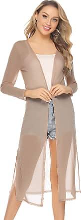 Abollria Waterfall Cardigan for Women Summer Lightweight Long Sleeve Open Front Cardigans Khaki