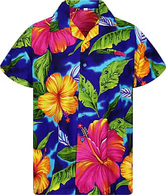 V.H.O. Funky Hawaiian Shirt, Big Flower, darkblue, 3XL
