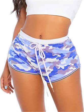 QIYUN.Z Women Causal Camouflage Print Shorts Cotton Soft Cozy Elastic Skinny Patchwork Shorts Blue 2XL