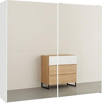 MADE.COM MADE Essentials Elso Kleiderschrank mit Schiebetueren (240 cm), Weiss mit Spiegeltueren