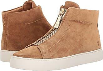 Frye Womens Lena Zip HIGH Fashion Sneaker, Tan Soft Oiled Suede, 6.5 M US