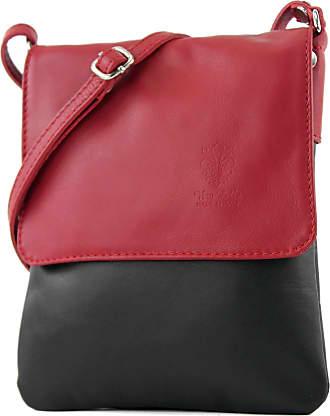 modamoda.de ital leather shoulder bag Messenger bag ladies small T 34, Colour:Black/Dark Red