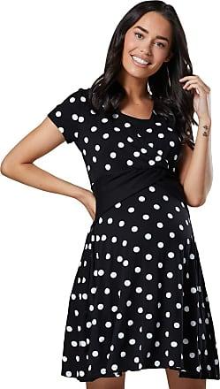 Happy Mama Womens Maternity Nursing 2in1 Skater Dress Short Sleeves. 605p (Black with Dots, UK 16, 2XL)