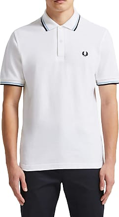 Fred Perry Mens Made in England Twin Tipped Polo Shirt - White/Ice/Navy - 40