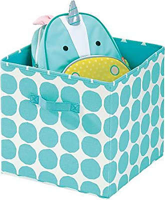 InterDesign Dot Fabric Storage Cube Bin, Medium Basket Container with Dual Side Handles for Closet, Bedroom, Toys, Nursery - Teal