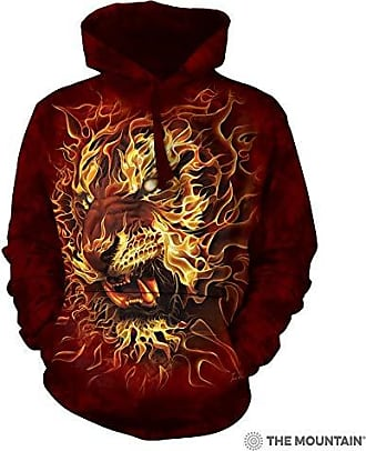 The Mountain Fire Tiger-Hsw-S Adult Hoodie, Red, Small