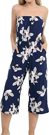 Islander Fashions Womens Floral Strapless Pocket Playsuit Ladies Bandeau Boobtube 3/4 Jumpsuit White Lily Navy X Large UK 16-18