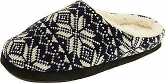 Footwear Studio Mens Navy Fairisle Knitted Faux Fur Lined Mule Slippers UK 7-8