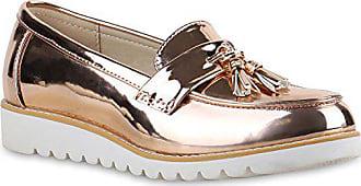 Stiefelparadies Damen Slipper Lack Plateau Loafers Metallic Loafer Flats  Glitzer Slippers Quasten Lochung Schuhe 136594 Gold 998b385387