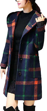 Saoye Fashion Ladies Trench Coat Spring Autumn Outerwear Elegant Festive Checked Clothes Hooded Windbreaker Fashion Chic Long Sleeve with Pockets Parker Coat (Color
