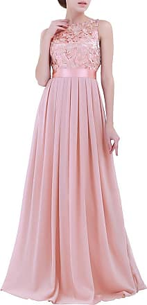 TiaoBug Women Ladies Empire Waist Embroidered Chiffon Wedding Bridesmaid Dress Long Evening Prom Gown Pearl Pink 10