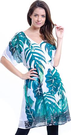 101 Resort Wear Vestido 101 Resort Wear Básico em Crepe Estampa Folhagem Verde e Branco