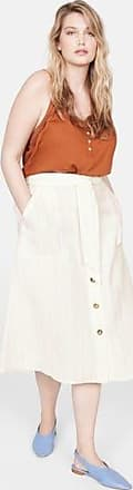Violeta by Mango Striped linen-blend skirt