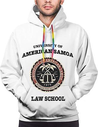 Not Applicable Clothing University of American Samoa Law School Men Hoodies Long Sleeve Pullover Sweatshirts Coat with Pocket Black