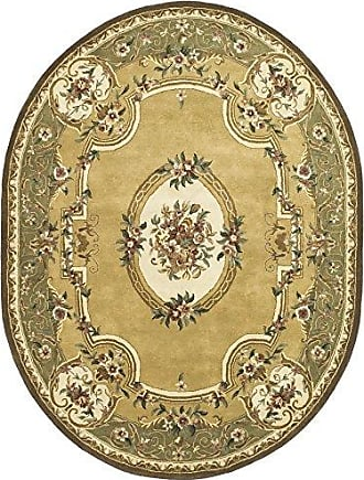 Safavieh Classic Collection CL280A Handmade Traditional Oriental Light Gold and Green Wool Oval Area Rug (76 x 96 Oval)