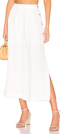 J.O.A. Buttoned Wide Leg Pant in White