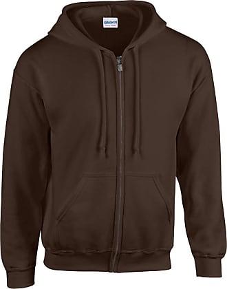 Gildan Gildan Heavy Blend Unisex Adult Full Zip Hooded Sweatshirt Top (2XL) (Dark Chocolate)