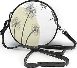 Turfed PU Round Shoulder Bag Dragonfly Spring Dandelions Botany Blossoming Petals Essence of Nature Growth Theme Tan Army Cross Body Bag