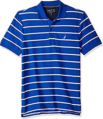 Nautica Mens Classic Short Sleeve Stripe Polo Shirt, Bright Cobalt, Small
