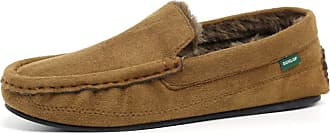 Dunlop Mens Famous George Moccasin Loafers Faux Sheepskin Fur Slippers with Memory Foam (10 UK, Tan)
