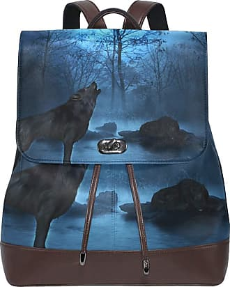 Ahomy Women Leather Backpack Wolf Night Forest Pagoda Waterproof Anti-theft Fashion School Backpack Casual Daypacks