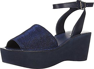 Kenneth Cole Reaction Womens Dine with Me EVA Platform Sandal Ankle Strap Wedge, Navy, 9.5 M US