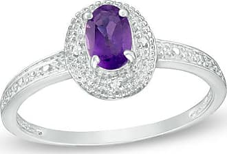 Zales Oval Amethyst and Diamond Accent Frame Vintage-Style Ring in Sterling Silver