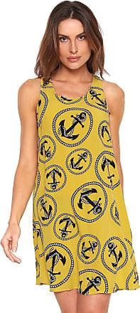 Lez a Lez Vestido Lez a Lez Curto Estampado Amarelo