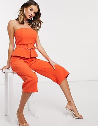 Missguided bandaeu culotte jumpsuit in orange
