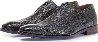 Floris Van Bommel Blauer Leder-Schnürschuh mit Metallic-Print, Business Schuhe, Handgefertigt