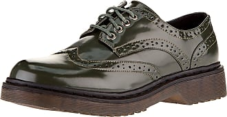 oodji Collection Womens Faux Leather Oxford Shoes, Green, 5 UK