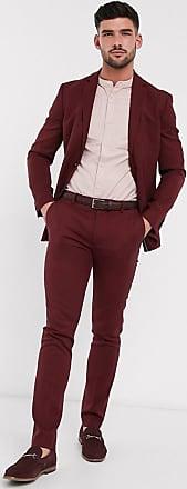 Topman skinny fit suit trousers in burgundy-Red