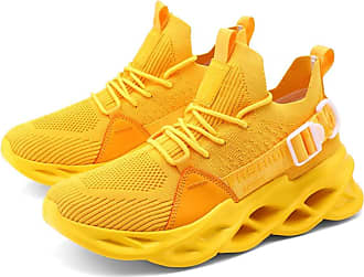 LanFengeu Men Running Shoes Breathable Casual Lightweight Lace up Mesh Sneakers Outdoor Platform Non Slip Fitness WalkingTrainers Yellow