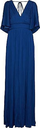 Halston Heritage Halston Heritage Woman Pleated Sateen Gown Navy Size 6