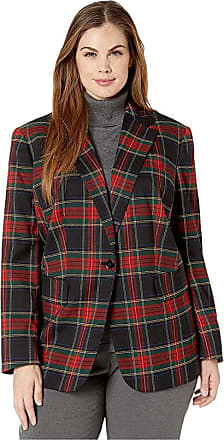 Ralph Lauren Plus Size Tartan-Print Blazer (Polo Black/Red Multi) Womens Clothing