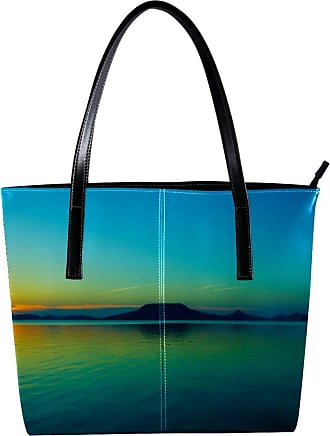 Nananma Womens Bag Shoulder Tote handbag with The First Rays Of The Sun Over The Sea Pattern Zipper Purse PU Leather Top-handle Zip Bags