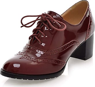 Vimisaoi Womens Vintage Oxfords Cuban Brogues Wingtip Pu Leather Lace-up Square Mid Heel Ankle Booties College Style Dress Shoes Red