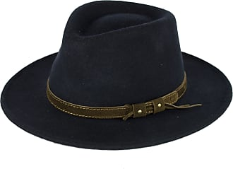 Hat To Socks Navy Wool Fedora Hat with Leather Belt Waterproof & Crushable Handmade in Italy