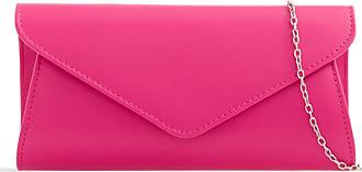 LeahWard Womens Faux Leather Clutch Bags Wedding Flap Handbags 490H (Fuchsia)