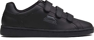 Slazenger Mens Ash Vel Fashion Trainers Gents Hook & Loop Casual Shoes Footwear Black/Charcoal UK 8