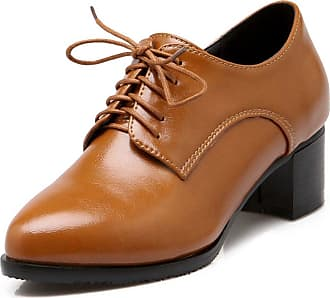 Vimisaoi Womens Fashion Pu Perforated Lace Up Oxfords Shoes Brougues Shoes Brown