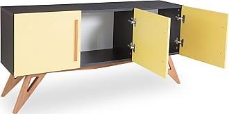 Odin Buffet Arthur com 3 Portas 135 cm Preto e AmareloPreto e Amarelo