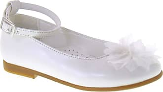 Generico Elegant Ballet Flats for Communion Bridesmaid in Pearl White Leather with Ankle Strap White Size: 11.5 UK Child