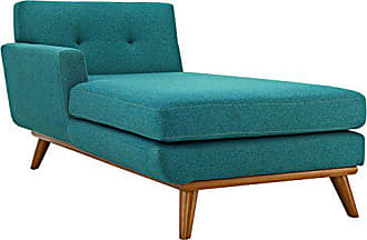 ModWay Modway Engage Mid-Century Modern Upholstered Fabric Left-Arm Chaise In Teal
