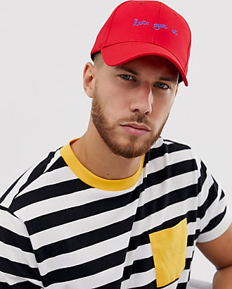 64d28bd29843 Asos baseball cap with lets get it embroidery in red